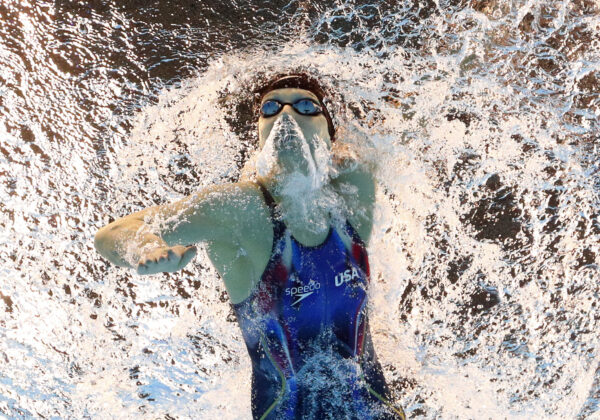 United States' Katie Ledecky starts the women's 800-meter freestyle final during the swimming competitions at the 2016 Summer Olympics, Friday, Aug. 12, 2016, in Rio de Janeiro, Brazil. (AP Photo/Lee Jin-man)