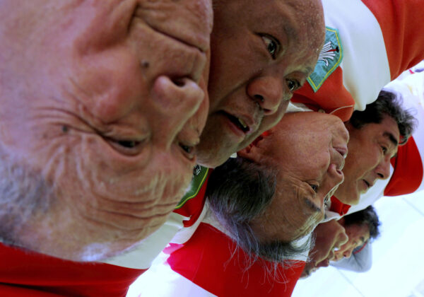 """Fuwaku Rugby Club players make a scrum during their practice in Fukaya, Saitama Prefecture, Japan, June 16, 2019. Fuwaku, founded in 1948, is one of approximately 150 Japanese clubs that stage competitive, full-contact matches for players over the age of 40. REUTERS/Kim Kyung-Hoon    SEARCH """"RUGBY VETERANS"""" FOR THIS STORY. SEARCH """"WIDER IMAGE"""" FOR ALL STORIES.     TPX IMAGES OF THE DAY - RC15690E5A50"""