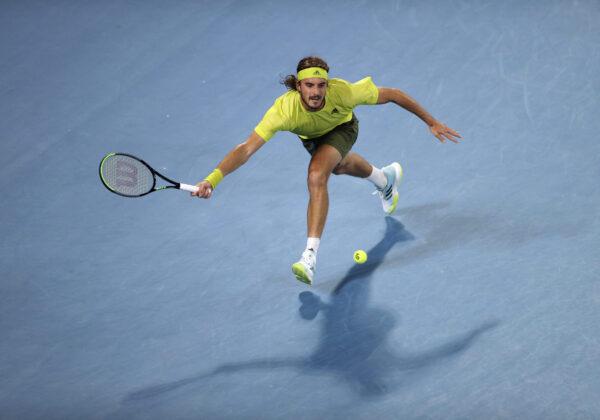 Tennis - Australian Open - Melbourne Park, Melbourne, Australia, February 17, 2021 Greece's Stefanos Tsitsipas in action during his quarter final match against Spain's Rafael Nadal REUTERS/Loren Elliott - UP1EH2H0V3GCW