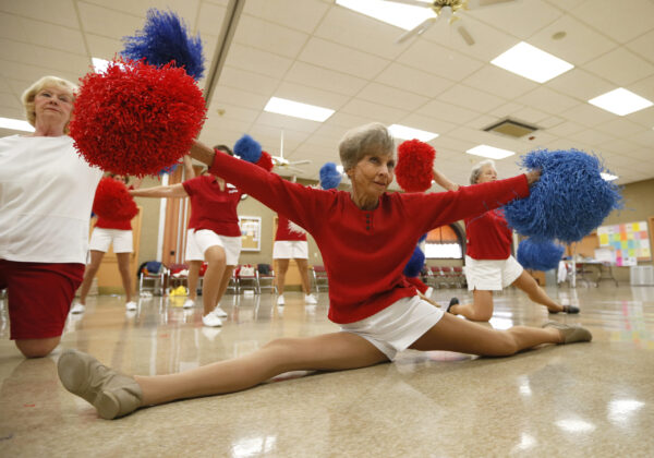 The Sun City Poms cheerleader dancers rehearse in Sun City, Arizona, January 7, 2013. Sun City was built in 1959 by entrepreneur Del Webb as America?s first active retirement community for the over-55's. Del Webb predicted that retirees would flock to a community where they were given more than just a house with a rocking chair in which to sit and wait to die. Today?s residents keep their minds and bodies active by socializing at over 120 clubs with activities such as square dancing, ceramics, roller skating, computers, cheerleading, racquetball and yoga. There are 38,500 residents in the community with an average age 72.4 years.    Picture taken January 7, 2013.   REUTERS/Lucy Nicholson (UNITED STATES - Tags: SOCIETY) FOR BEST QUALITY IMAGE SEE: GF2E9BM1CD201  ATTENTION EDITORS - PICTURE 19 OF 30 FOR PACKAGE 'THE SPORTY SENIORS OF SUN CITY' SEARCH 'SUN CITY' FOR ALL IMAGES - LM2E91F0XAR01
